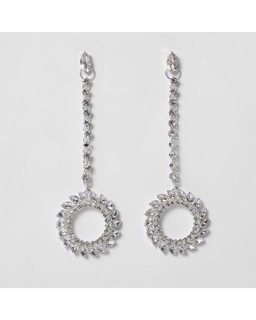 River Island | Metallic Silver Tone Diamante Hoop Drop Earrings | Lyst