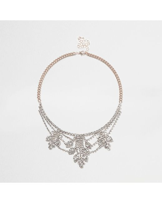 River Island - Metallic Rose Gold Tone Cup Chain Statement Necklace - Lyst