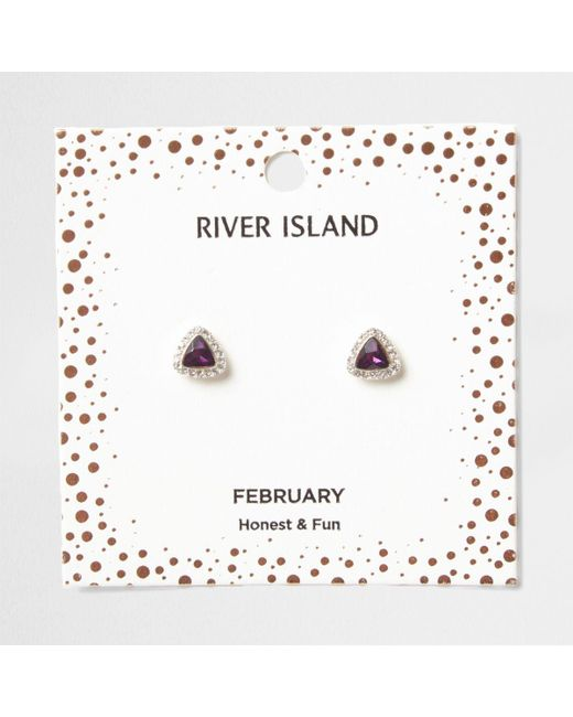 River Island | Purple Gem February Birthstone Stud Earrings | Lyst