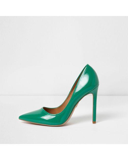 Womens Gold wide fit razor heel court shoes River Island HnmI21b2K