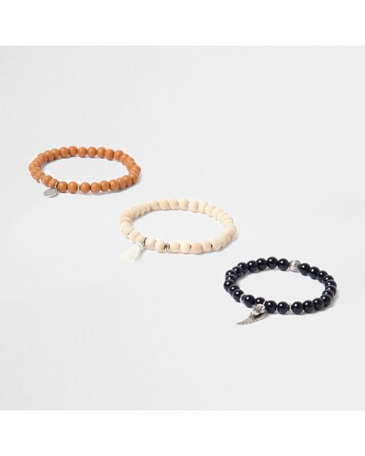 River Island - Black Wooden Bead Embellished Bracelet Pack - Lyst