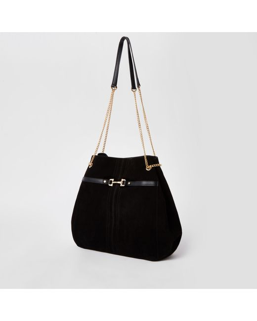 fa2773ec4d ... River Island - Black Leather Snaffle Front Slouch Bag - Lyst