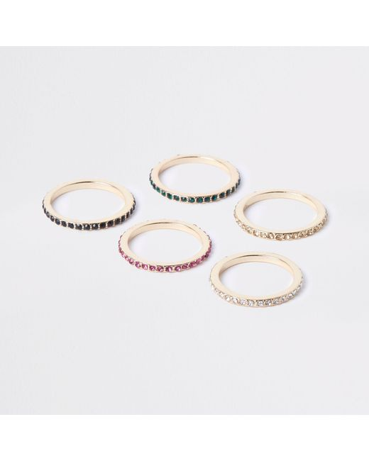 River Island - Metallic Gold Tone Diamante Embellished Ring Pack - Lyst