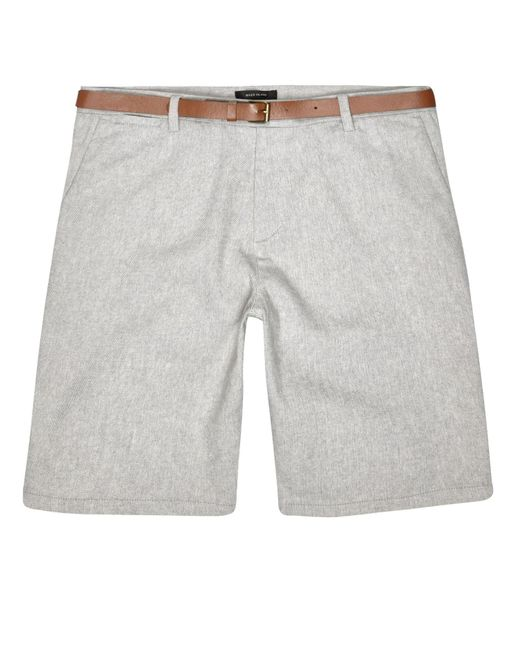 River Island | White Grey Slim Fit Belted Bermuda Shorts for Men | Lyst