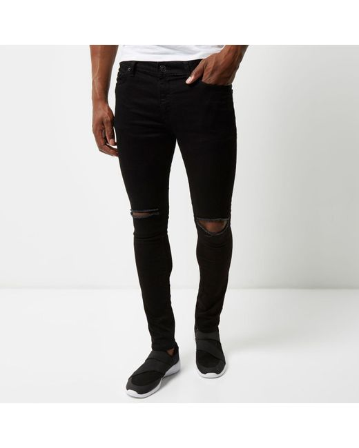 River island Black Ripped Super Skinny Danny Jeans in Black for ...