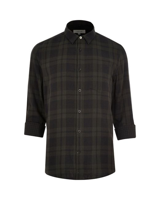 River Island Burgundy Double Faced Casual Check Shirt