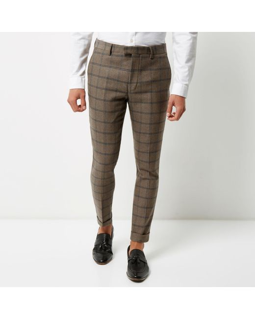 River Island Ecru Checked Skinny Cropped Suit Trousers In