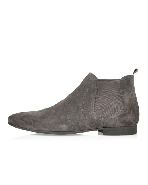 Wonderful Saint Laurent Suede Rock Chelsea Boot In Gray  Lyst