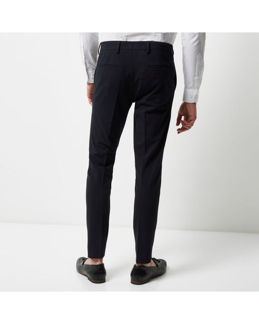 River island Navy Super Skinny Suit Trousers in Blue for Men | Lyst