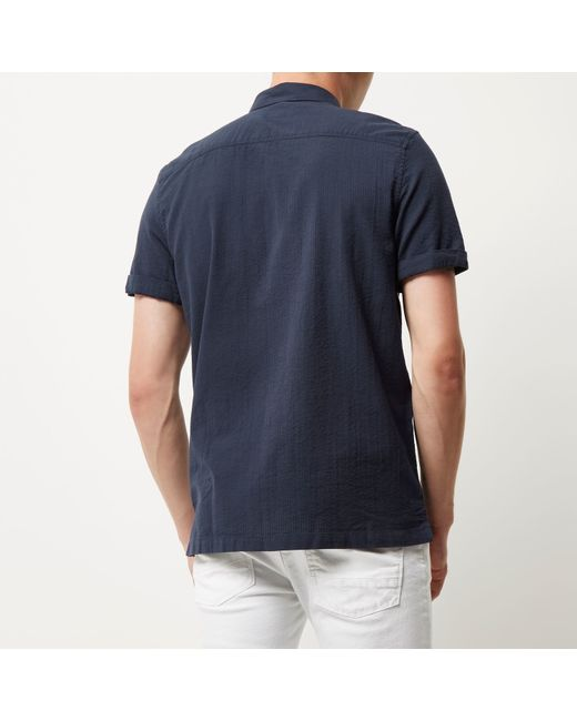 River island navy seersucker short sleeve shirt in blue for Mens short sleeve seersucker shirts