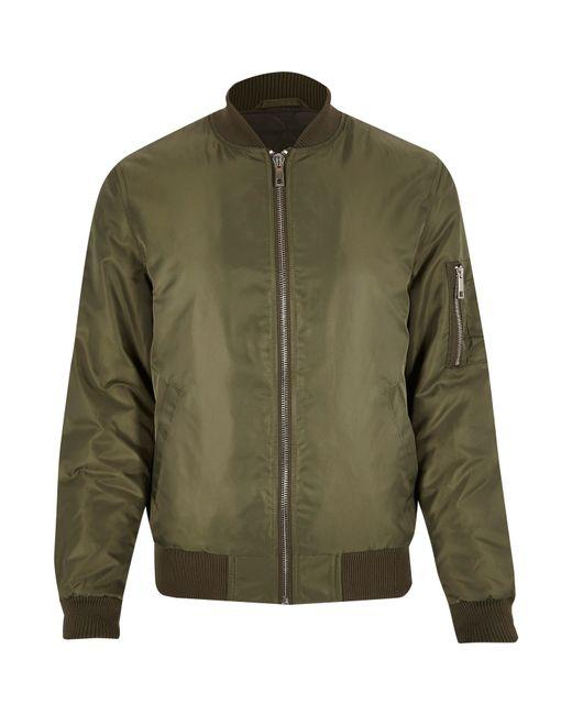 River island khaki embroidered back bomber jacket in