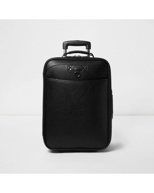 River Island | Black Perforated Leather Look Suitcase for Men | Lyst