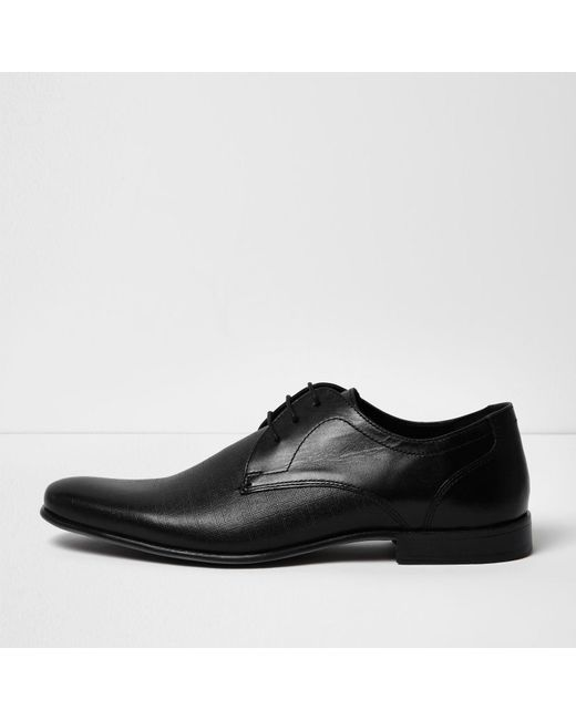 river island black embossed leather formal shoes in black