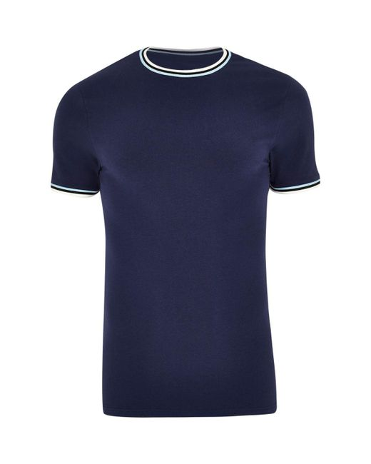 River Island | Blue Navy Muscle Fit Ringer T-shirt for Men | Lyst