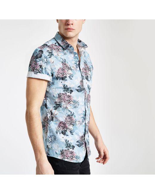 a7d35909 River Island - Blue Floral Slim Fit Short Sleeve Shirt for Men - Lyst ...