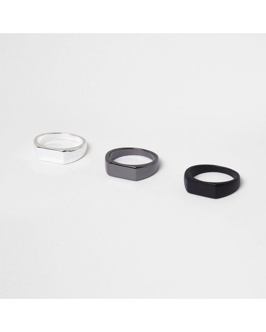 River Island   Black Ring Multipack   Lyst