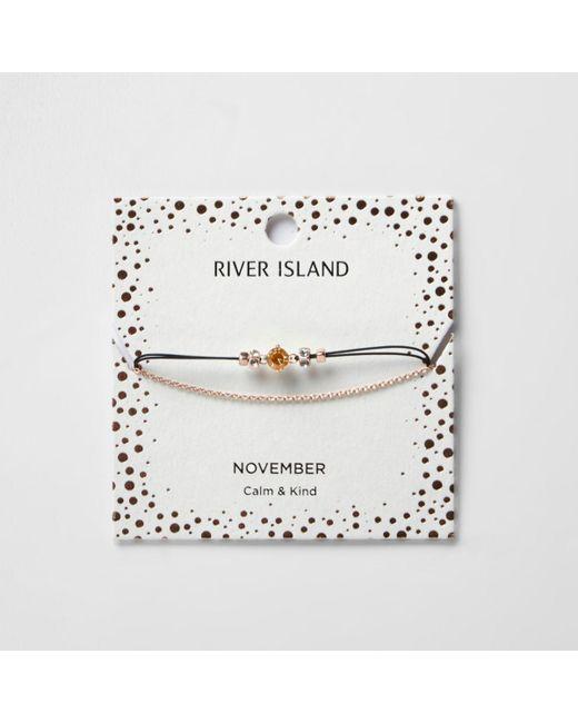 River Island | Orange November Birthstone Chain Bracelet | Lyst