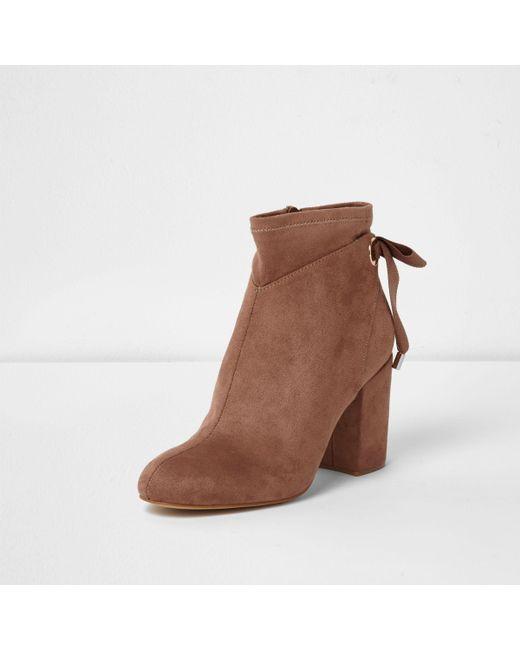 River Island Womens tie back block heel ankle boots emV4h5tQ