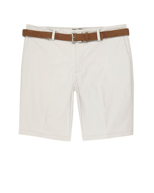 River Island | Natural Cream Belted Chino Shorts for Men | Lyst