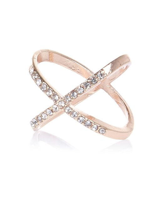 River Island - Pink Rose Gold Tone Entwined Diamanté Ring - Lyst