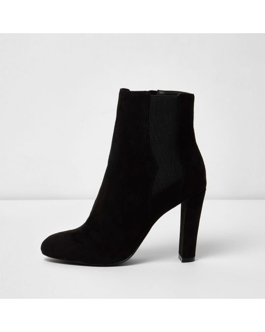 River Island - Black Slim Heel Ankle Boots - Lyst