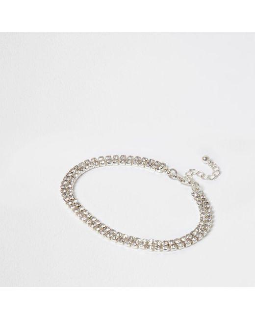 River Island | Metallic Silver Tone Diamante Anklet Silver Tone Diamante Anklet | Lyst