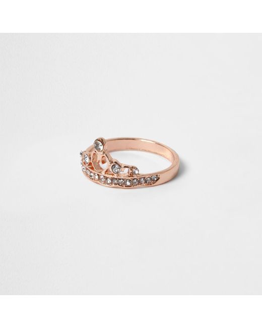 River Island | Pink Rose Gold Tone Diamante Crown Ring | Lyst