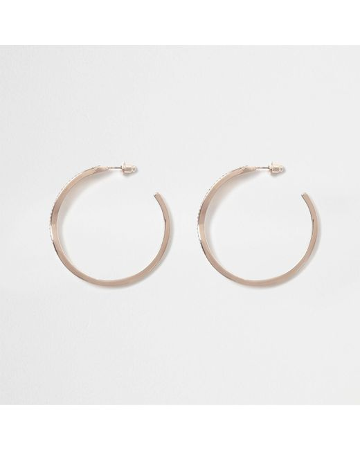 River Island - Pink Rose Gold Tone Twist Hoop Earrings - Lyst