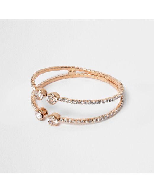 River Island | Metallic Rose Gold Tone Diamante Pave Cuff Bracelet | Lyst