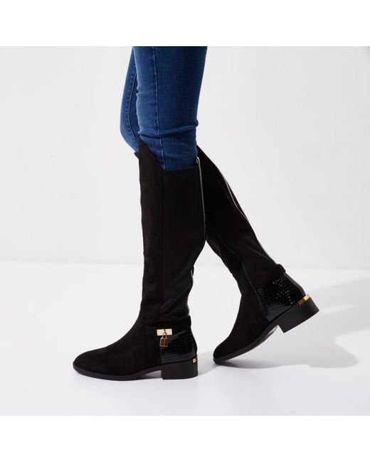 river island black wide fit knee high boots in