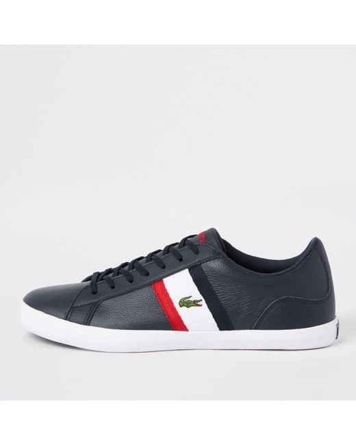 hot sales a706c 192cc River Island - Blue Lacoste Lerond Navy Leather Sneakers for Men - Lyst ...