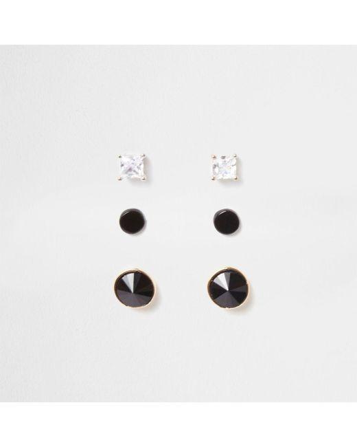 River Island | Black Circle Diamante Stud Earrings Multipack Black Circle Diamante Stud Earrings Multipack | Lyst