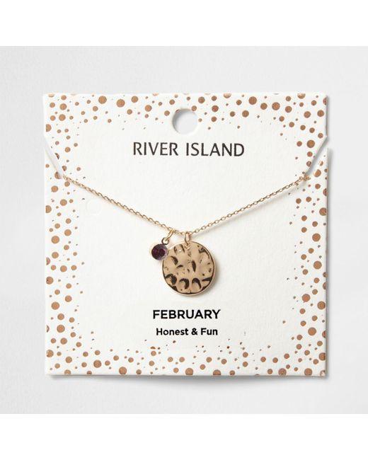 River Island   Purple Gem February Birthstone Necklace   Lyst