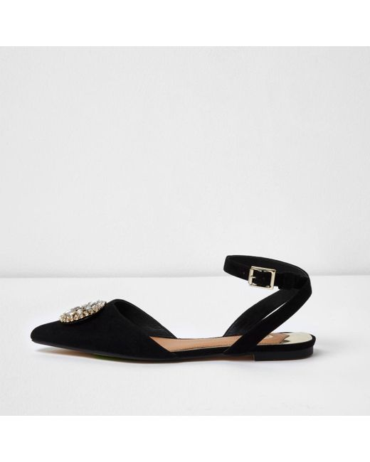 River Island | Black Diamante Embellished Pointed Shoes | Lyst