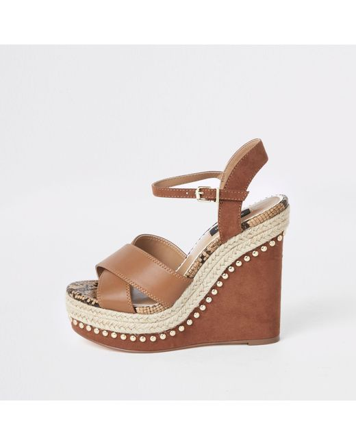 64a694cfd22 River Island Light Brown Studded Wide Fit Wedges in Brown - Lyst