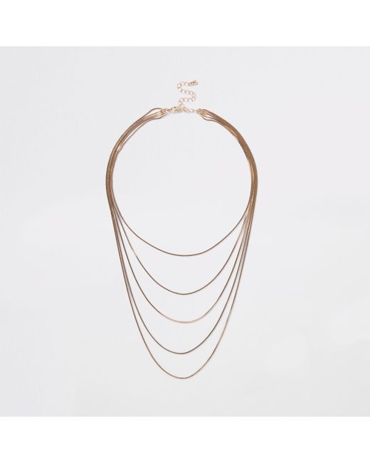 River Island - Metallic Gold Tone Layered Snake Chain Necklace - Lyst