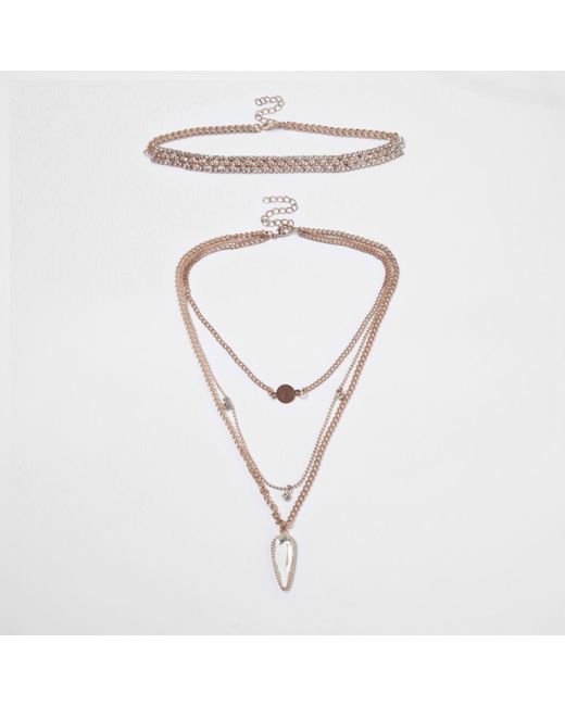 River Island | Pink Rose Gold Tone Multi Row Choker Set Rose Gold Tone Multi Row Choker Set | Lyst
