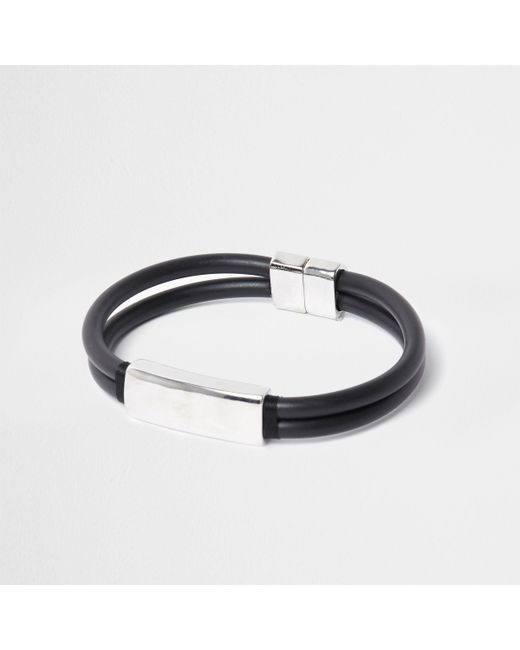 River Island - Black Rubber And Silver Tone Magnet Bracelet - Lyst