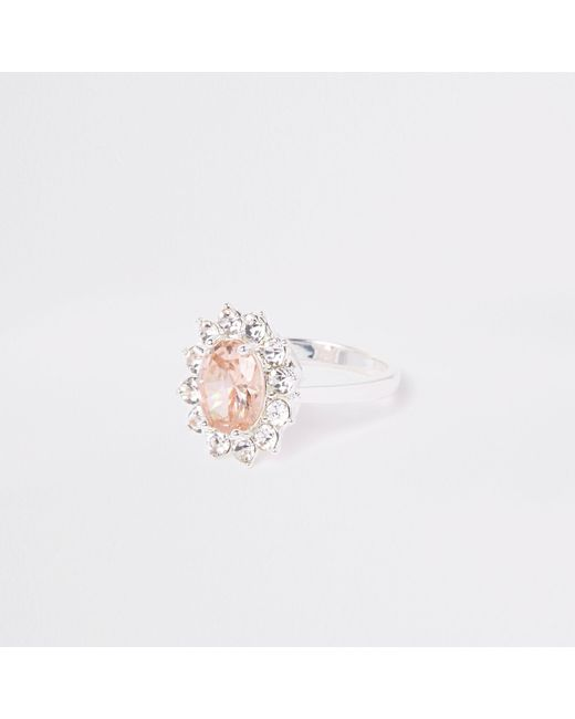 River Island - White Cubic Zirconia Diamante Pave Ring - Lyst