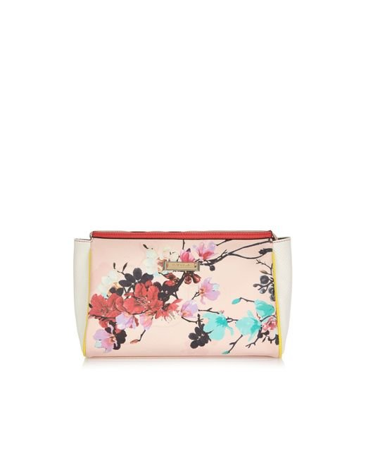 River Island Pink Floral Print Wash Bag In Beige (pink) | Lyst