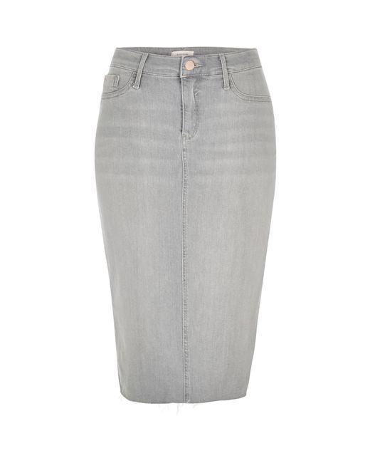 river island light grey wash denim pencil skirt in gray