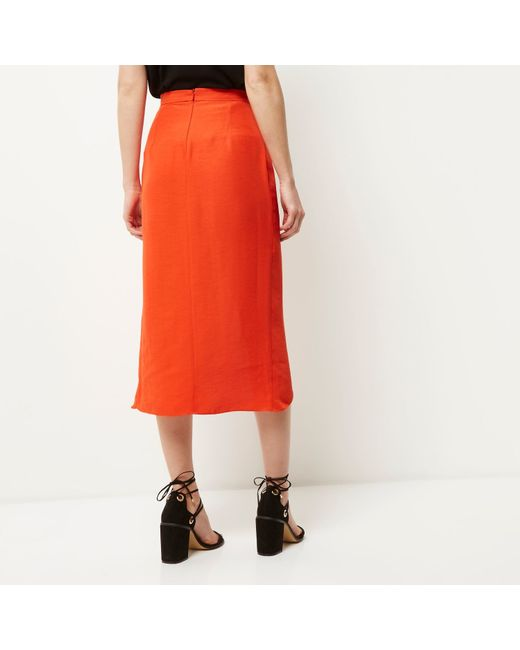 River Island Red Wrap Midi Skirt In Red Lyst