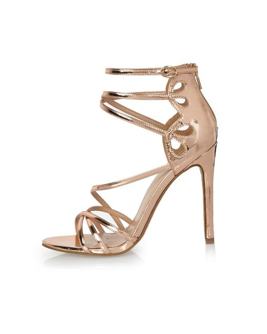 River Island Rose Gold Tone Strappy Heels In Natural Lyst