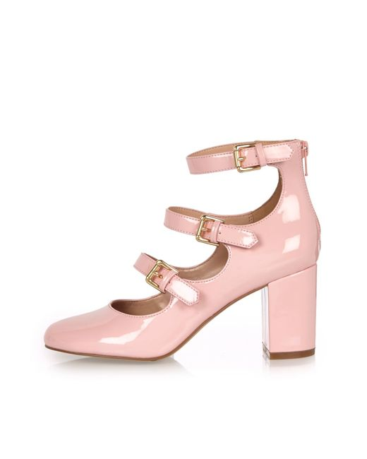 river island pink patent multi block heel shoes in