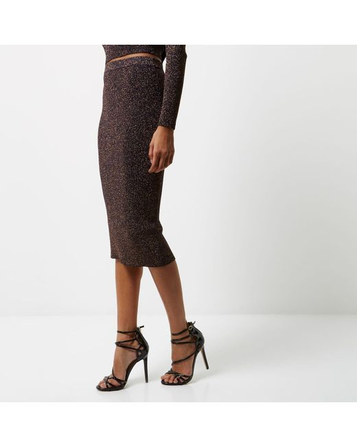 river island navy sparkly stretch pencil skirt in blue lyst