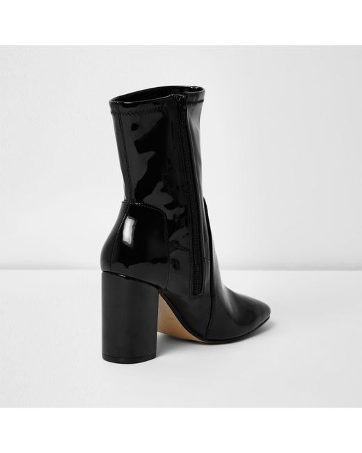 river island black patent wide fit block heel boots in