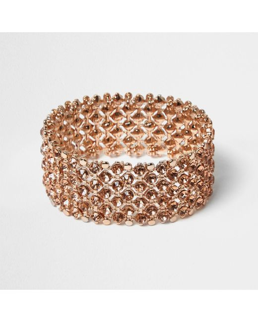 River Island | Multicolor Rose Gold Crystal Embellished Bracelet | Lyst