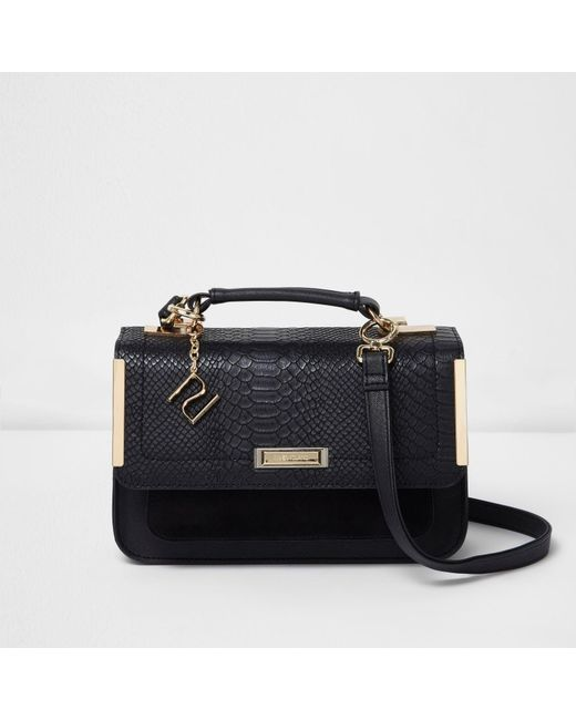 River island Black Embossed Mini Satchel Bag in Black | Lyst