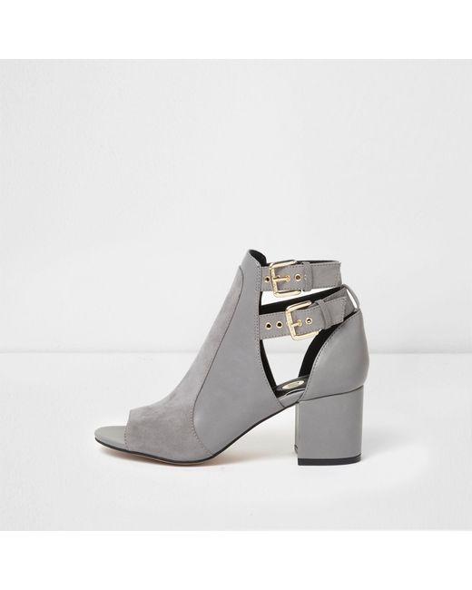 River Island - Gray Grey Double Buckle Peep Toe Shoe Boots - Lyst