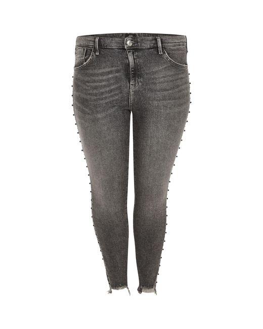 River Island - Gray Plus Dark Grey Amelie Stud Embellished Jeans - Lyst